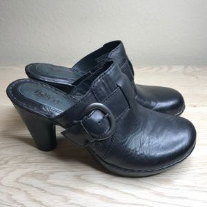 Born | Black Leather Heeled Clog Bootie - Size 9